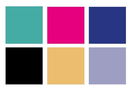 6 carrés couleurs aplats